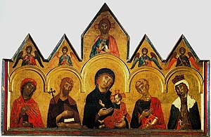 Altarpiece - Vigoroso da Siena's altarpiece from 1291, an example of an early painted panel altarpiece, with the individual parts framed by gables and sculptured elements