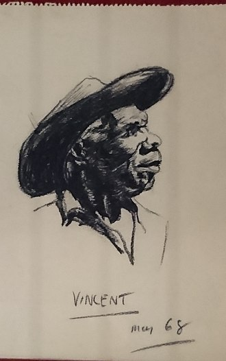 """Vincent Lingiari - """"Vincent, May 1968"""" (Vincent Lingiari); charcoal on paper, by Frank Hardy, drawn while researching his book, The Unlucky Australians."""