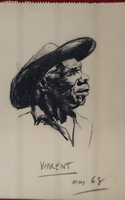 """Vincent, May 1968"" (Vincent Lingiari); charcoal on paper, by Frank Hardy, drawn while researching his book, The Unlucky Australians. Vincent Lingiari, 1968.jpg"