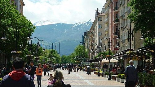 Vitosha Boulevard, the main shopping street in the city. Vitosha boulevard, Sofia.jpg