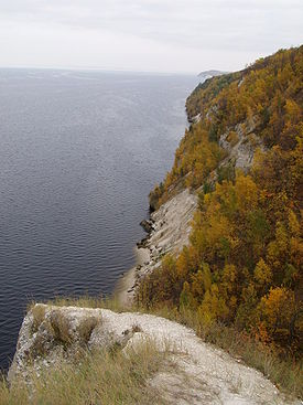 View of the Volga River in the confluence with the Kama River