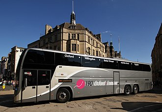 Oxford to London coach route - Oxford Bus Company Plaxton Elite bodied Volvo B11R in August 2017