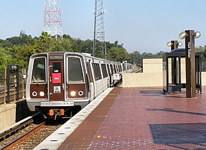 June 2009 Washington Metro train collision - A typical 1000-Series trainset similar to the moving train in the accident arriving at Fort Totten