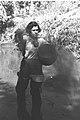 WOMAN SANITATION WORKER OF KIBBUTZ MAABAROT SPRAYING NAHAL ALEXANDER AGAINST MOSQUITOS. חברת קיבוץ מעברות מרססת את נחל אלכסנדר נגד יתושי מלריה.D17-090.jpg
