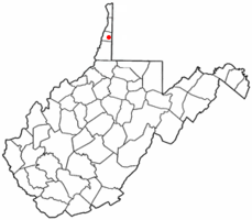 Location of Valley Grove, West Virginia