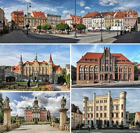 From top, clockwise: Market Square Main Post Office District Court Książ Castle Town Hall
