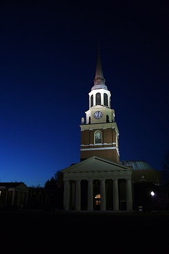 Wake Forest University - Wait Chapel at night.