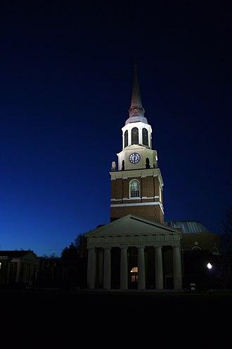 Wake Forest University - Wait Chapel at night.