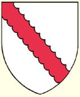 "Manor of Dyrham - Armourials of Robert Walerand: ""Argent, a bend engrailled gules"""