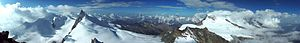 Allalinhorn, Alps (Switzerland). Panoramic vie...