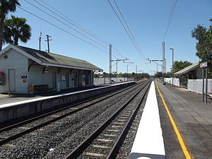 Walloon railway station - Eastbound view from Platform 2 in September 2012