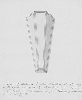 Waltheof of Melrose - 19th century sketch of Waltheof's 12th century tomb