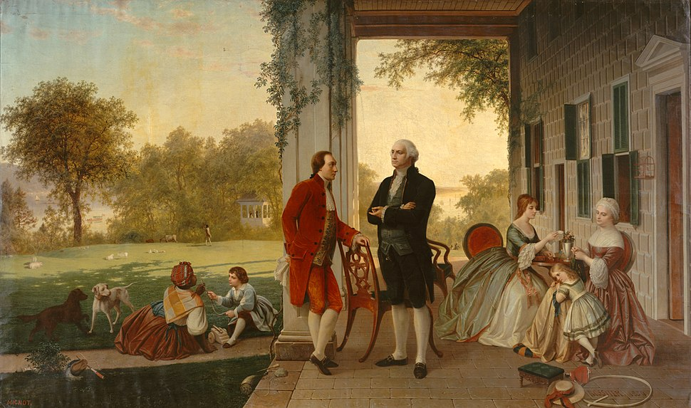 Washington and Lafayette at Mount Vernon, 1784 by Rossiter and Mignot, 1859