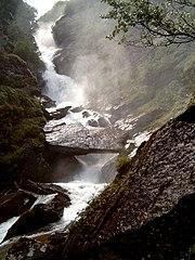 A waterfall on the Ova da Fedoz, Switzerland.