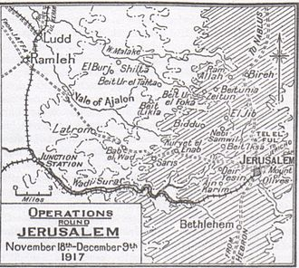 Battle of Jerusalem - Map 14 Jerusalem operations – 18 November to 9 December 1917