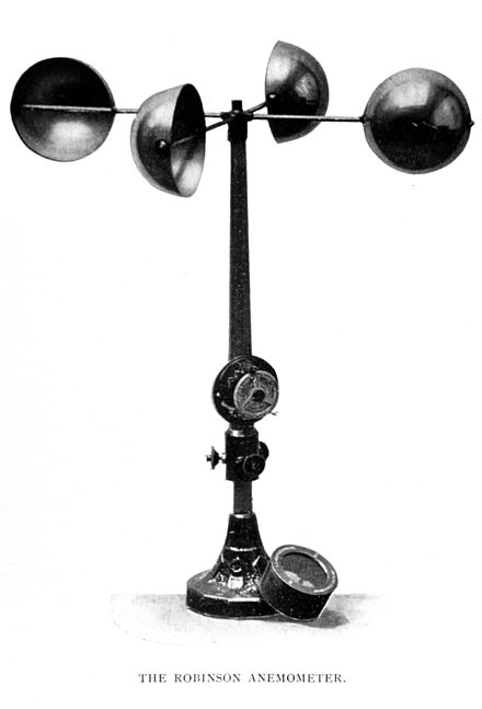 A hemispherical cup anemometer of the type invented in 1846 by John Thomas Romney Robinson. Wea00920.jpg
