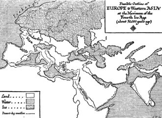 Messinian salinity crisis - Wells' 1920s speculative map of 50,000 years ago