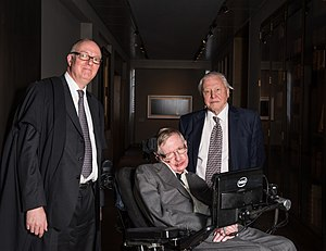 Stephen Hawking - Hawking with University of Oxford librarian Richard Ovenden (left) and naturalist David Attenborough (right) at the opening of the Weston Library, Oxford, in March 2015. Ovenden awarded the Bodley Medal to Hawking and Attenborough at the ceremony.