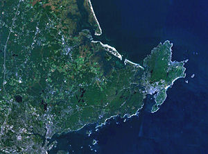 Cape Ann - Landsat satellite photo of Cape Ann.  The communities of Rockport, Gloucester, Essex and Manchester form Cape Ann