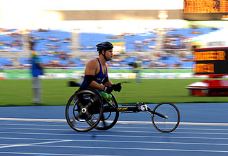Wheelchair racing - Brazilian athlete Wendel Silva Soares in the 400 m wheelchair race at the 2007 Parapan American Games