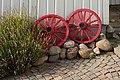 Wheels as garden art at Gamla Strandgatan 10, Gamlestan, Lysekil 1.jpg