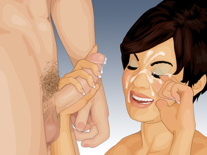 English: Depiction of a facial cumshot, in whi...