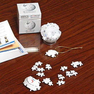 Wikipedia logo - The 3D Wikipedia puzzle from Wikimania 2007