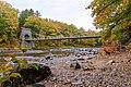 Wire Suspension Bridge, built ca. 1842 near New Portland, Maine, showing Carrabasset River.jpg