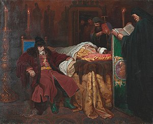 Tsarevich Ivan Ivanovich of Russia - Ivan the Terrible meditating at the deathbed of his son by Vyacheslav Schwarz (1861)
