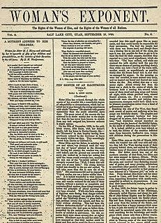 <i>Womans Exponent</i> Latter-Day Saint journal (1872-1914)