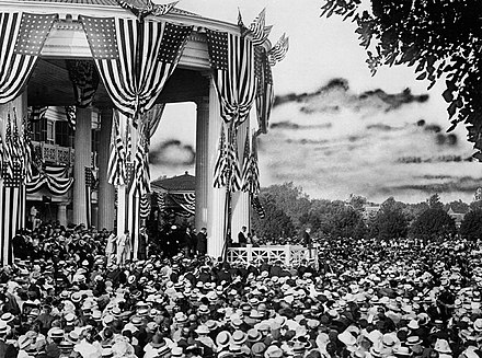 Wilson accepts the Democratic Party nomination, 1916 Woodrow Wilson, accepting Democratic nomination, 1916.JPG