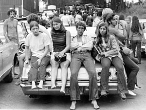 Hippie - Young people near the Woodstock festival in August 1969.