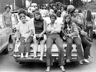 Hippie - Young people near the Woodstock festival in August 1969