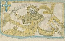Wulfric seated on a horse, wielding a sword and clad in mail