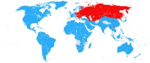 Grondgebied van de westerse geallieerden blauw en de sovjet unie en