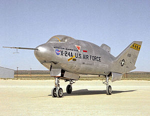 Rocket-powered aircraft - The Martin Aircraft Company X-24 lifting body built as part of a 1963 to 1975 experimental US military program