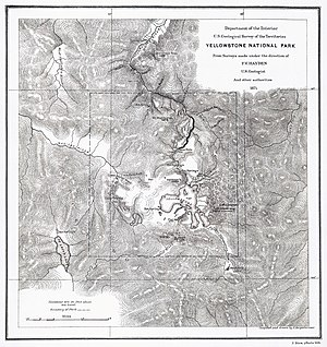 Conservation movement - F. V. Hayden's map of Yellowstone National Park, 1871.