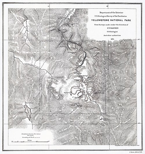 F. V. Hayden's map of Yellowstone National Park, 1871.