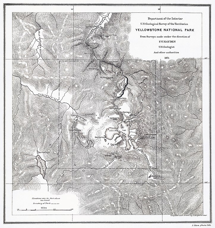 Ferdinand V. Hayden's map of Yellowstone National Park, 1871