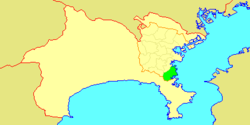 Map of Yokohama showing Kanazawa-ku highlighted