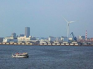 Yokohama Harbor, showing a Vestas V80-2.0MW wi...