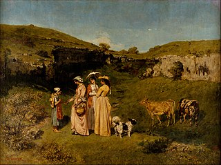 <i>Young Ladies of the Village</i> painting by Gustave Courbet