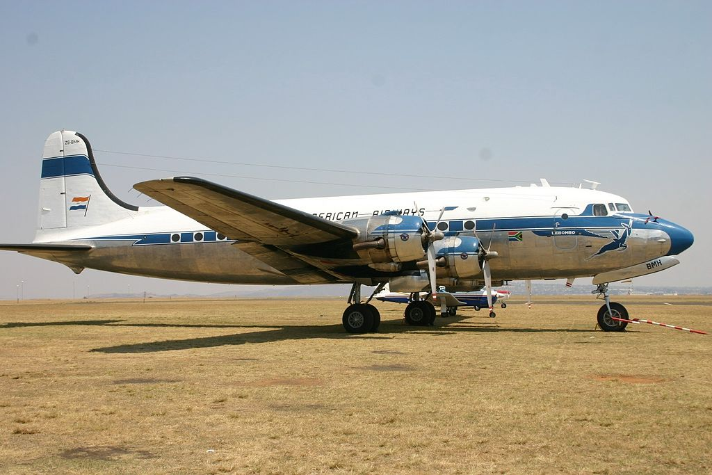 ZS-BMH Douglas DC-4 South African Airways (7684908602).jpg