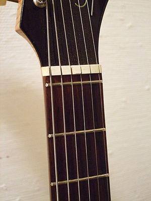 Zero fret - Zero fret on a Hopf Saturn 63 electric guitar.