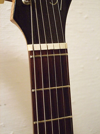 Zero fret - Zero fret on a Hopf Saturn 63 electric guitar.