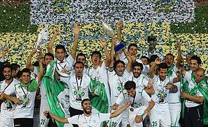 Zob Ahan Esfahan F.C. - Zob Ahan players celebrating Hazfi Cup title in 2015