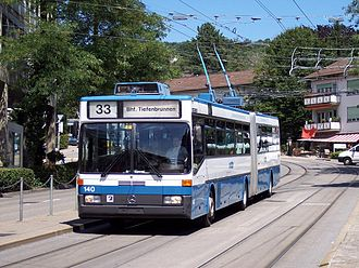 Verkehrsbetriebe Zürich - A Mercedes-Benz O405 GTZ trolleybus
