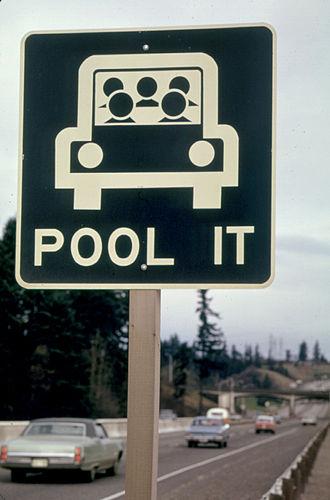 Carpool - A sign encouraging carpooling during the gas shortage resulting from the 1973 oil crisis