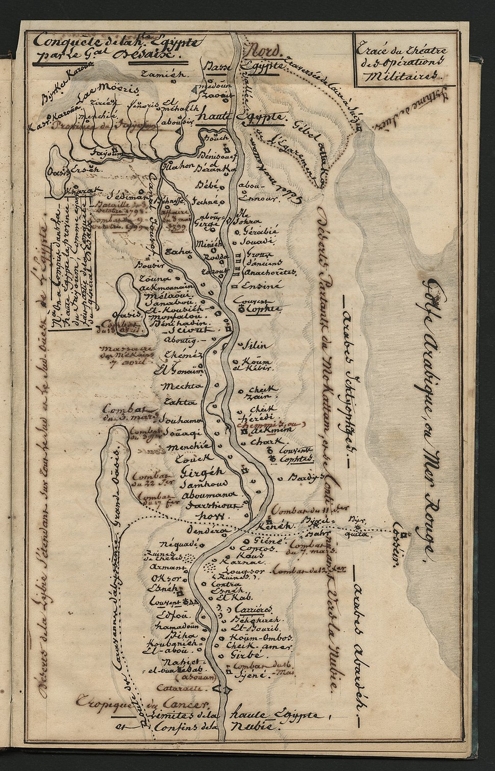 """""""Tracé du théatre operations Militaires"""" from E.L.F. Hauet's manuscripts of the Campaign in Egypt"""