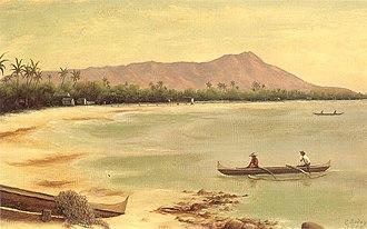1895 Wilcox rebellion - Diamond Head and Waikīkī beach,1890